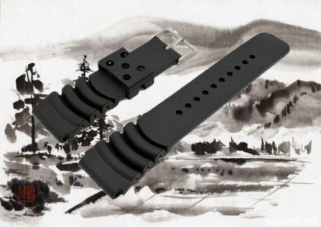 Vervanging Zachte PVC Diver Horloge Band voor Seiko Water Ghost duiken Strap Srp309suncu Siliconen 24mm