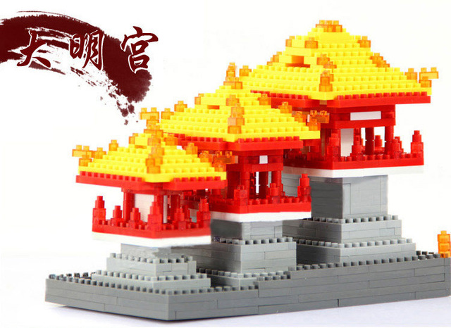New world famous architecture Daming nanoblock Palace of Tang Dynasty in China mini diamond building block model educational toy