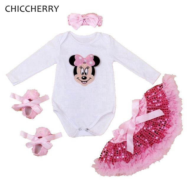 Minnie Toddler Girl Rompers Pink Infant Bodysuit Sets Headband + Sequins Skirt Party Tutus Roupa De Bebe Winter Girls Clothes