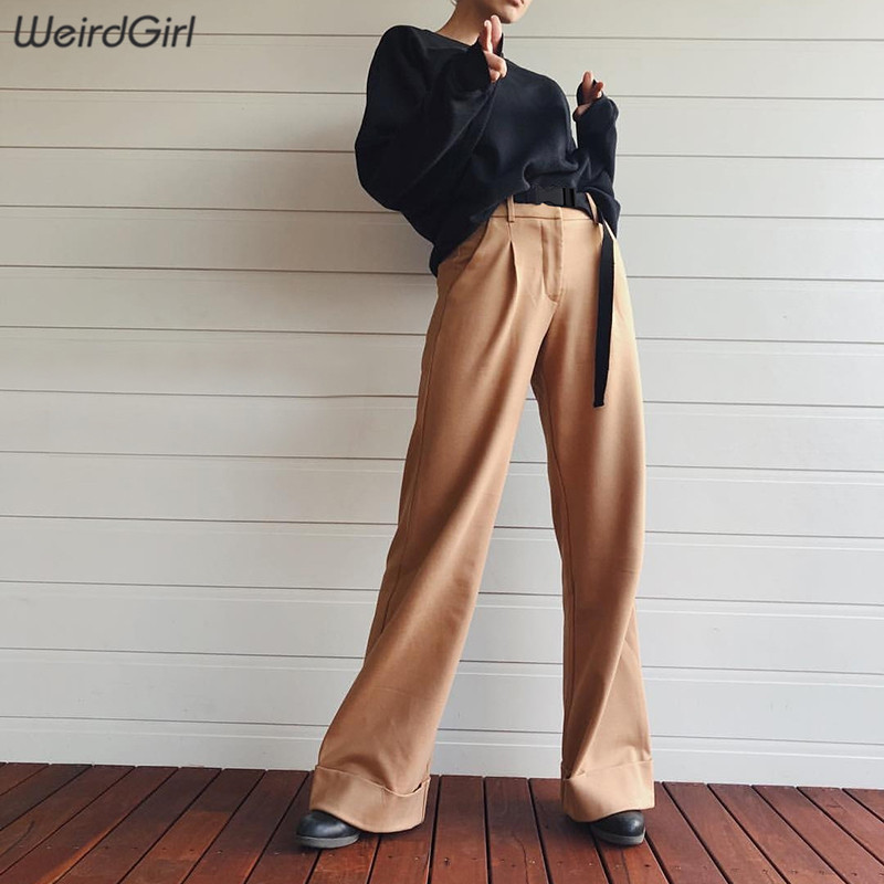 Weirdgirl khaki black   Pants   Women Casual High Waist loose Long   wide     leg     pants   Lady Elastic Trousers drawstring Work   Pants   2019