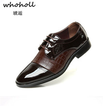 Whoholl 2018 New Men Dress Shoes Plus Size 38-44 Business Flat Black Brown Breathable Low Top Formal Office