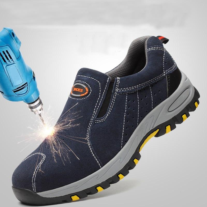Punta de acero de seguridad zapatos de trabajo zapatos de los hombres 2018 de moda de verano transpirables Slip en Casual botas hombre seguro laboral punción prueba Shoe788