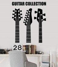 Aplique de pared de vinilo para guitarra instrumento musical de tienda, cartel para dormitorio juvenil, bar, club nocturno, decoración artística para el hogar, 2 yy12