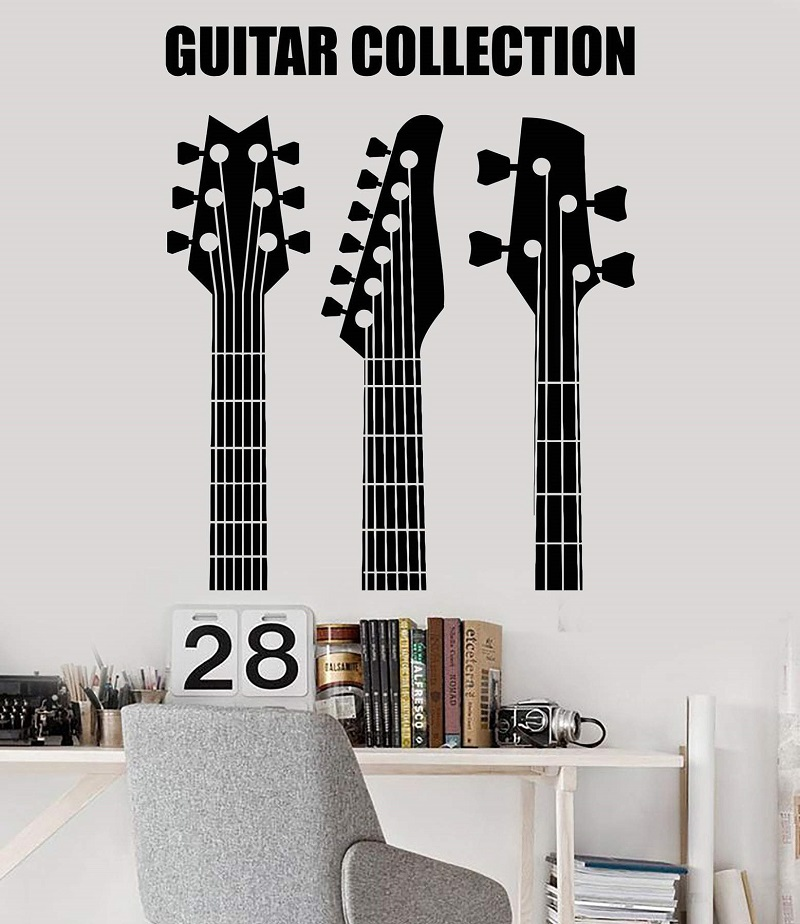 Vinyl wall applique guitar collection store musical instrument youth dormitory bar nightclub poster home art decoration 2YY12-in Wall Stickers from Home & Garden