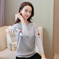 2017 Autumn Winter Solid Knitted Embroidery Sweaters Floral Pullovers WomenLong Sleeve Pullover Female Tricot Pull Femme