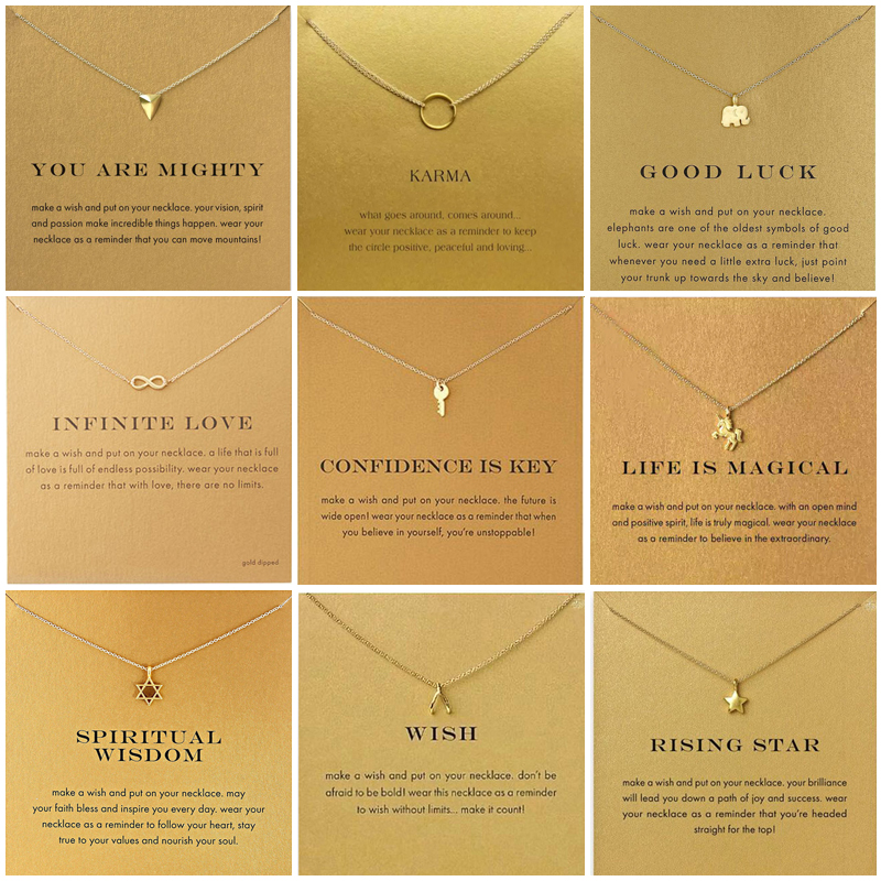 9 Style Gold Color Key Circle Necklace For Women Minimalist Infinity Pendant Necklaces Valentine's Day Gift Necklace With Card