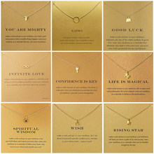 9 Style Gold Color Key Circle Necklace For Women Minimalist Infinity Pendant Necklaces Valentine's Day Gift Card(China)