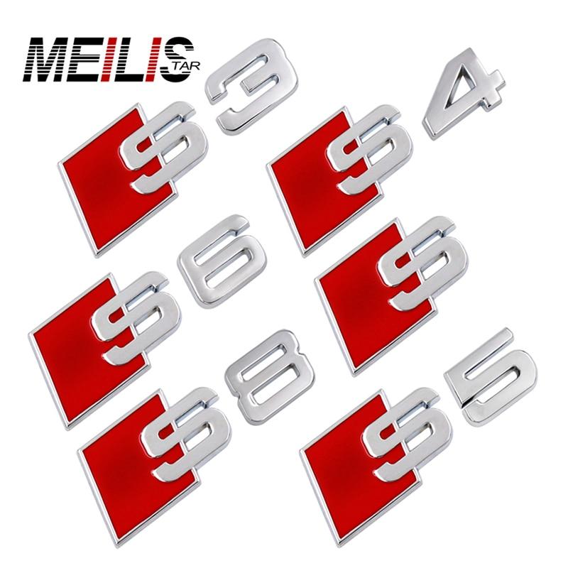 S LINE S3 S4 S5 S6 S8 logo Emblem Badge metal auto tail 3D stickers For AUDI A1 A3 A4 A5 A6 A7 A8 Q3 Q5 Q7 R8 TT RS car-styling s line sline front grille emblem badge chromed plastic abs front grille mount for audi a1 a3 a4 a4l a5 a6l s3 s6 q5 q7 label