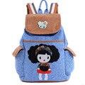 2016 Estilo Coreano Azul Denim Mochilas escolares Para Las Niñas Niños Mochila Mochila Escolar Niños Bolsa Grande de Hombro Capacidad Edad 6-12