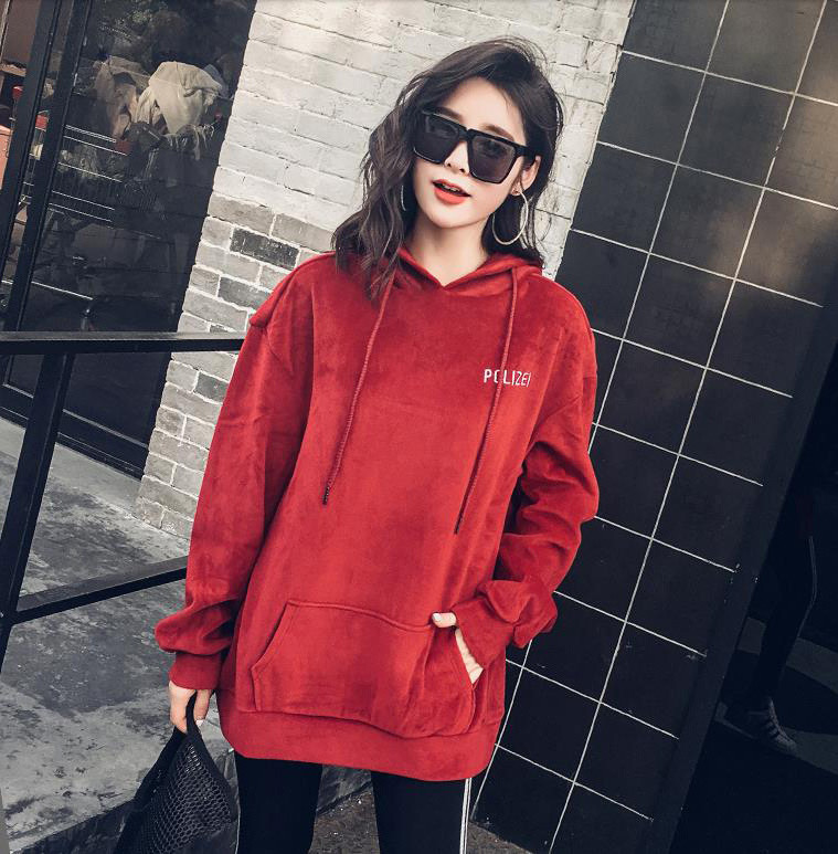 Women's Tops Hooded Sweatshirts Spring New Solid Long-Sleeved ...