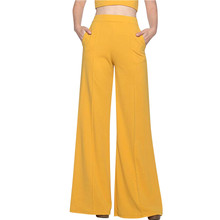 Womail Fashion Solid Loose Long Palazzo Pants 2019 Spring Autumn Women High Waist Wide Leg Pants Plus Size