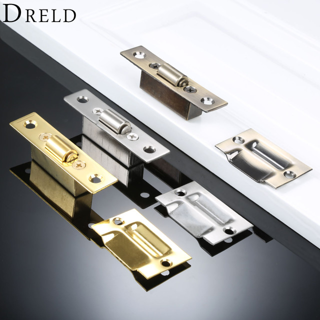 Dreld Stainless Steel Door Latches Cupboard Cabinet Roller Latch Lock Wooden Stops Furniture Hardware Silver