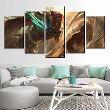 5Panel LOL League of Legends Pyke Game Canvas Printed Painting For Living Room Modern Wall Art Decor HD Picture Artworks Poster