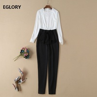 Chic Fashion 2019 Spring Party Style Jumpsuit Women Sexy Deep V Neck Black White Color Block Pant Overalls Ladies Bow Jumpsuits