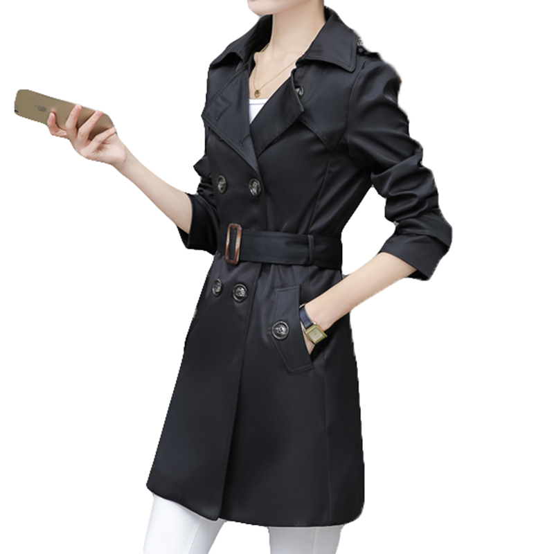 Women   Trench   Coat For Office Lady Go To Work New Fashion Designer Brand Classic European Slim Coat   Trench   Double Breasted Plus