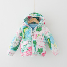 4 Color Girls baby Graffiti cartoon printing child cotton padded clothes Princess Cotton quilted jacket Winter