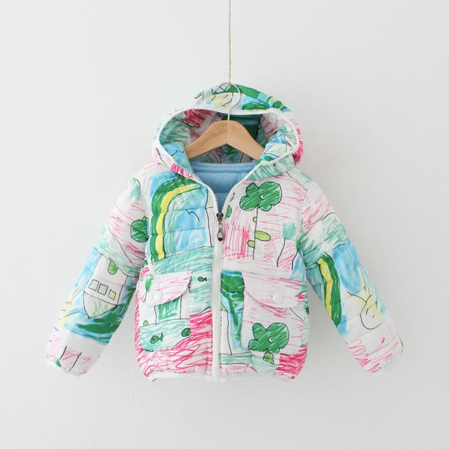 4 Cor Meninas Graffiti impressão dos desenhos animados do bebê criança algodão-acolchoado roupas Princesa de Algodão acolchoado jaqueta de Inverno Por Atacado 2016