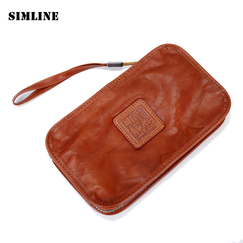 Vintage Genuine Vegetable Tanned Leather Cowhide Mens Men Women Long Wallet Purse Wallets Card Holder Clutch Bag Bags Clutches 2016 famous brand clutch wallet natural cowhide men wallets genuine leather bag classic handbags mens clutch bags big hand bag