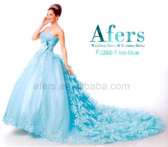 Beaytiful colored Sweep/ Brush Train Wedding Dresses,Afers newest wedding gown NO.FJ266-1