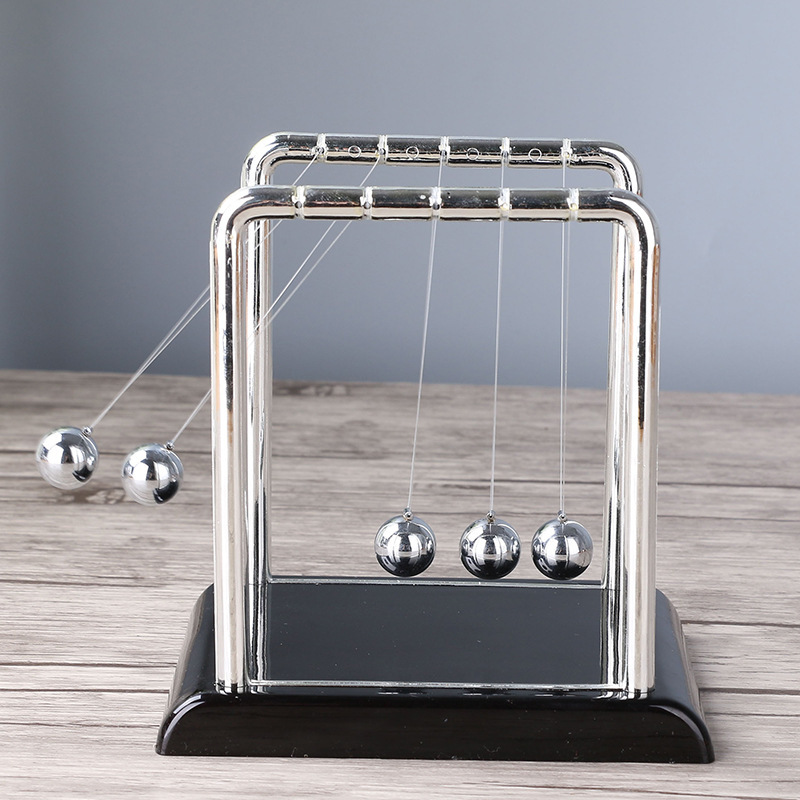 Square plastic pedestal Newton pendulum pool ball stainless steel metal balance ball chaos pendulum small medium large in Figurines Miniatures from Home Garden