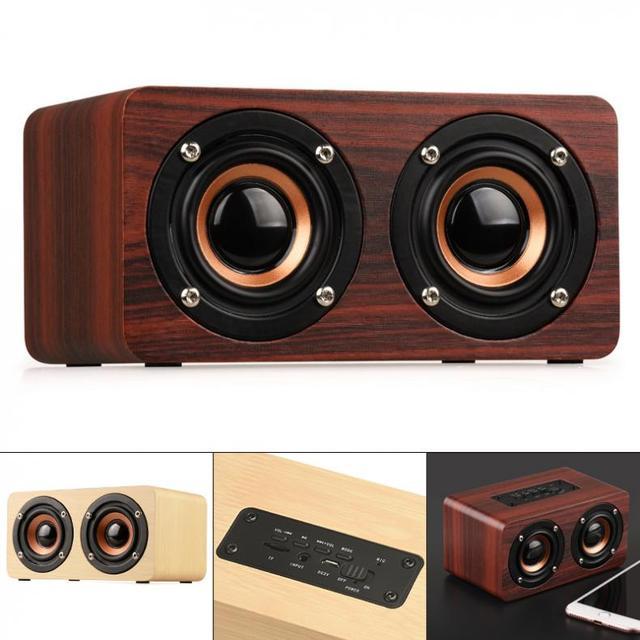 W5 10W 52MM כפול צופר עץ 4.2 Bluetooth רמקול עם AUX אודיו השמעת מיקרו USB ממשק עבור טלפון נייד/מחשב