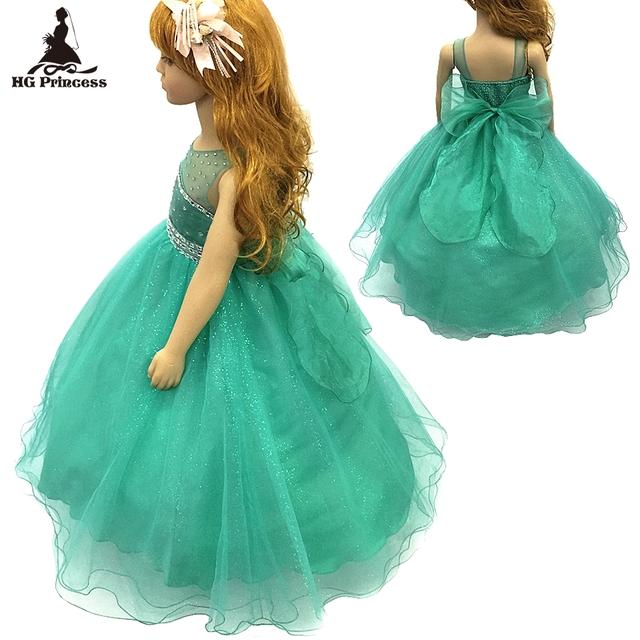 Lining algodão 2-12 anos de menina vestido de festa 2016 nova tule Vestidos Da Menina de flor de Pedra Azul Royal crianças Vestido de noite Com Agitação