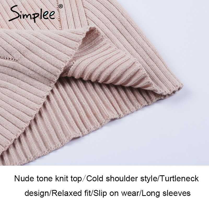 Женский вязаный свитер Simplee с высоким воротом, повседневный пуловер с открытыми плечами, женский элегантный уличный джемпер для осени и зимы