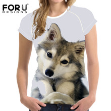 FORUDESIGNS Female Fashion Shirt Ladies T-shirts Summer Women Casual T-Shirt 3D Printed Husky Short Sleeved Women Tee Tops new 100% test lcd touch screen glass digitizer frame for htc one m9 silver with free tools tempered glass