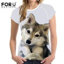 FORUDESIGNS Female Fashion Shirt Ladies T-shirts Summer Women Casual T-Shirt 3D Printed Husky Short Sleeved Women Tee Tops сыновья и любовники