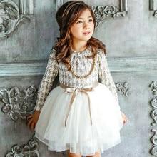 2018 High Quality Girls Autumn Winter Dress Houndstooth Girls Princess Dresses kids clothes Girl Casual Children Dress CE032
