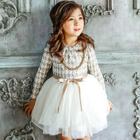 2017 High Quality Winter Girl Dress Houndstooth Girls Princess Dresses Kids Clothes Girl Casual Thickening Children