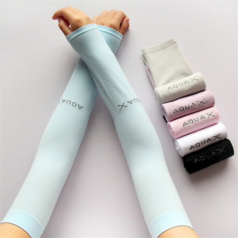 Summer 6 Color Cooling Arm Sleeves Sun Protective UV Cover 1 Pair Variety Color Sports Golf Fishing Arm Warmers