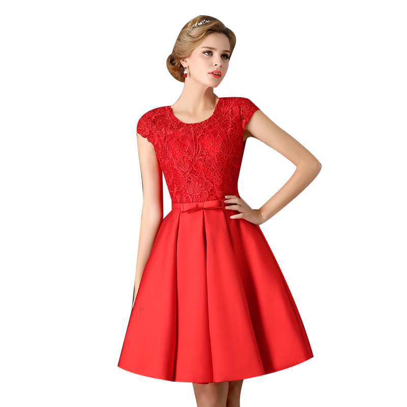 Short Cocktail Dresses Satin Lace Homecoming Prom Dresses