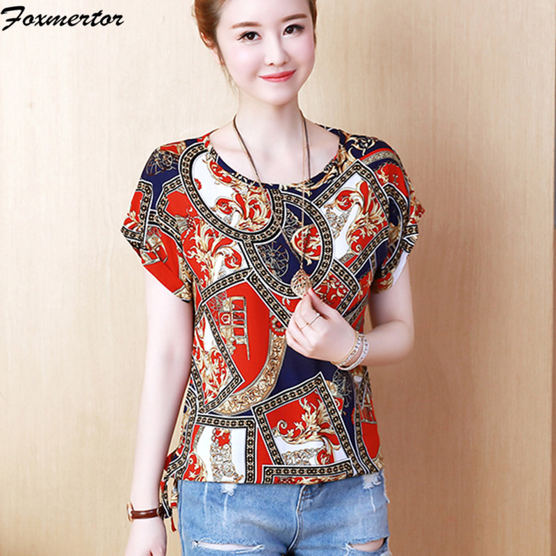 Blusas Feminina 2019 Trend Brief Sleeve Chiffon Boho Shirt Shirts Summer season Floral Print Girls High Informal Feminine Clothes 4XL Blouses & Shirts, Low cost Blouses & Shirts, Blusas...