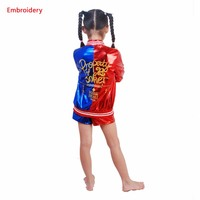 4 pcs 2018 New Harley Quinn Cosplay Costumes Kids Girls Purim Coats embroidery Jacket Chamarras De Batman Para Mujer Suit Gloves