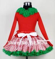 عيد الميلاد أحمر أبيض مقلم مزيج الأخضر pettiskirt مطابقة كيلي الأخضر ريدات الأحمر طويلة الأكمام أعلى MAMB03