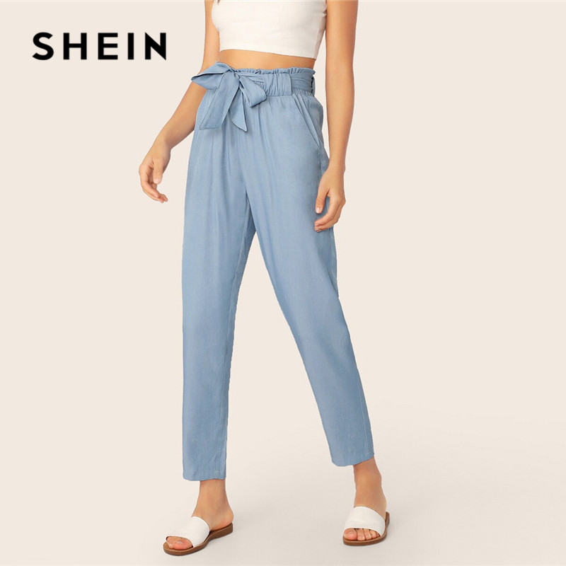 SHEIN Paperbag Waist Self Belted Pants Women Clothes 2019 Blue Casual High Waist Pants Solid Elastic Waist Spring Summer Pants|Pants & Capris| |  - title=