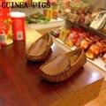Niños Casual Zapatos de Cuero de Alta Calidad Para Niños Niñas Zapatos Planos Moda Niños Zapatilla de deporte de CONEJILLOS de indias Marca Negro color beige marrón