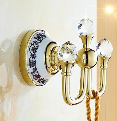 European Style Solid Brass Robe Hook Gold Crystal Metal Coat Hooks Decorative Wall Hooks Wall Hanger Bathroom <font><b>Accessories</b></font>
