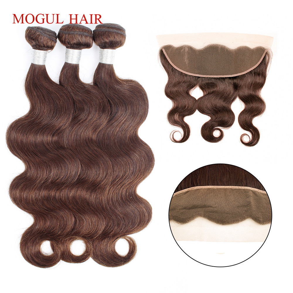 MOGUL HAIR Chocolate Brown Color 4 Body Wave Bundles with Frontal Indian Remy Human Hair Weft 2/3 Bundles with 4x13 Frontal