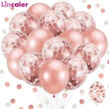 20 unids/set Rosa oro mezclado confeti globos decoración de la fiesta de cumpleaños de los niños adultos boda ducha de bebé bautizo suministros DIY