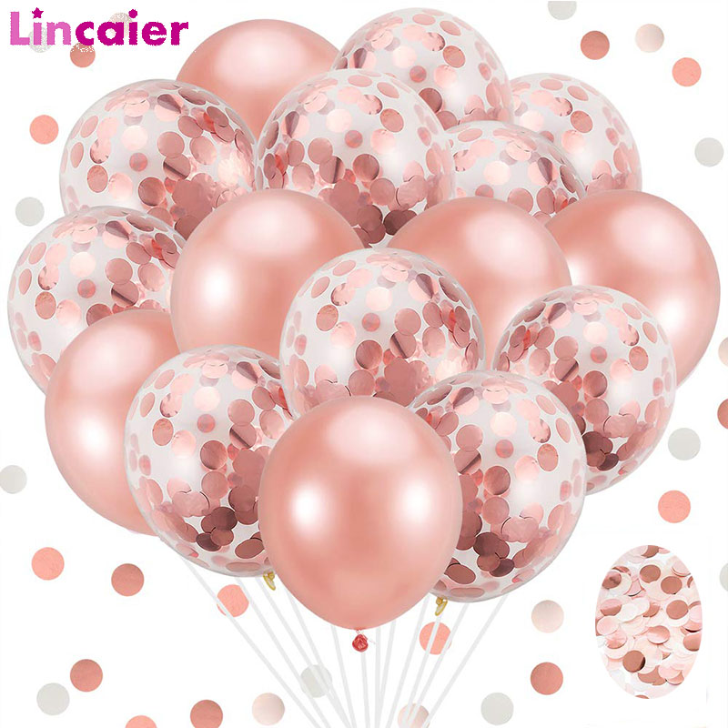 20pcs Rose Gold Mixed Confetti Balloons Wedding Birthday Table Decoration Baby Shower Boy Girl Bachelorette Party Valentines Day