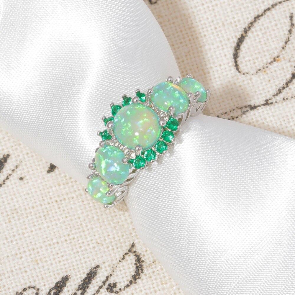 CiNily Yaradılmış Yaşıl Yanğın Opal Kristal Gümüşü - Moda zərgərlik - Fotoqrafiya 4