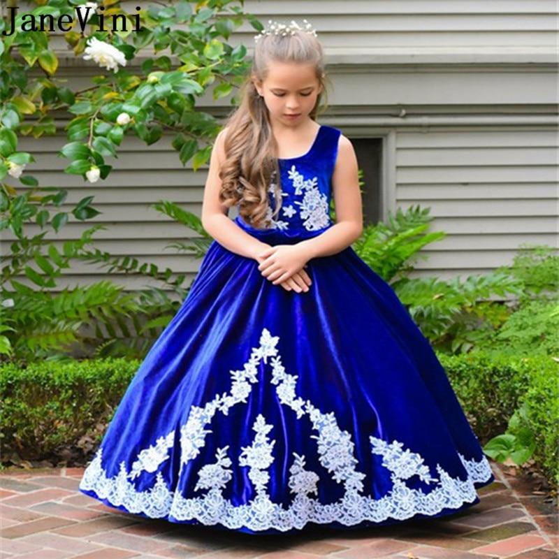 Popular Brand Janevini Vintage Royal Blue Girls Dresses 2018 White Applique Velvet Long Princess Kids Flower Girl Dresses For Weddings Holiday