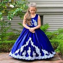 910824813d243 JaneVini Vintage bleu Royal filles robes 2018 blanc Applique velours longue  princesse enfants fleur fille robes pour les mariage.