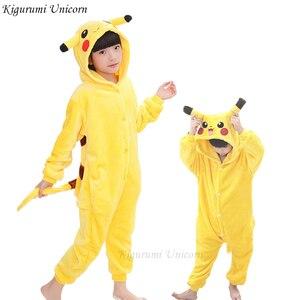 Kigurumi Unicorn Pajamas Children's Pajamas for Boys Girls Flannel Picachu Stich Pijama Set Animal Sleepwear Winter Onesies 4-12(China)