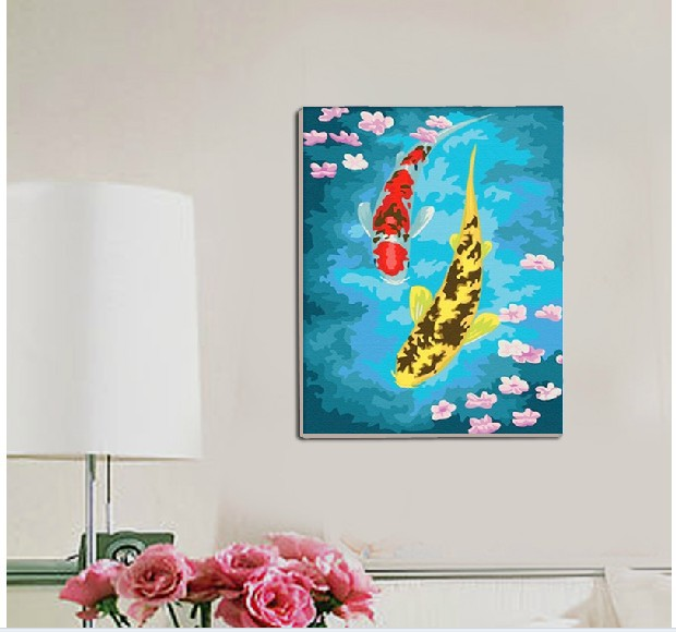 Hand painted diy digital canvas oil painting diy paint by for How to make canvas painting