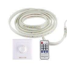 LED Strip 220v RF รีโมทคอนโทรลกันน้ำริบบิ้น Led SMD 5730 120 LEDs/M Ledstrip ไดโอดเทปตกแต่งลาย