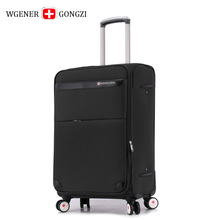 Brand New Fashion Women Men Oxford Waterproof Boarding Suitcase Black Fabric Trending Rolling Luggage Carry-on Trolly Box