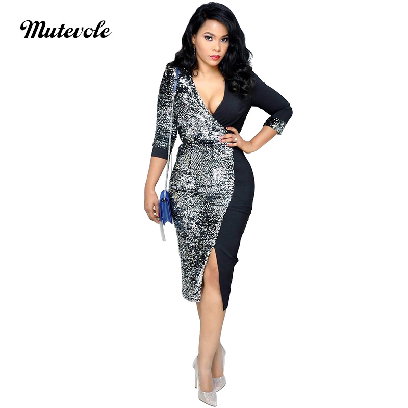 Mutevole 3/4 Sleeve Sequin Slim Bodycon Midi <font><b>Dress</b></font> Women <font><b>Deep</b></font> <font><b>V</b></font> Neck Glitter Party <font><b>Dress</b></font> Zipper Split Silver Paillettes <font><b>Dress</b></font> image